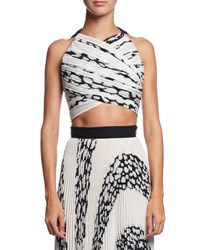 Proenza Schouler Printed Cloque Crop Top White Pattern