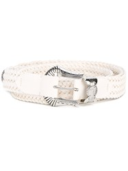 Y Project Woven Belt Men Calf Leather One Size White