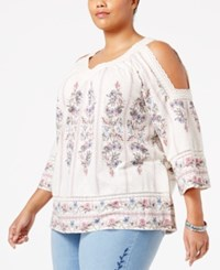 Styleandco. Style Co. Plus Size Floral Print Cold Shoulder Top Only At Macy's Laura Floral Ivory
