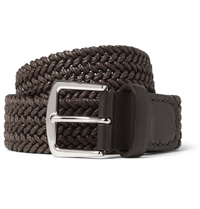 Loro Piana Brown 3.5Cm Leather Trimmed Woven Waxed Cotton Belt
