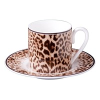 Roberto Cavalli Jaguar Coffee Cups And Saucers Set Of 6