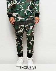 Granted Camo Skinny Joggers With Drop Crotch Green