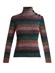 Redvalentino Metallic Striped Roll Neck Sweater Pink Multi
