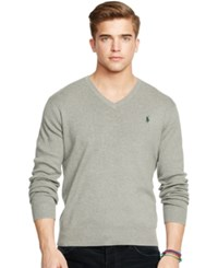Polo Ralph Lauren Pima V Neck Sweater Fawn Grey