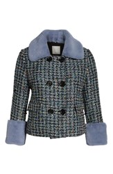 Halogen Plus Size X Atlantic Pacific Tweed Jacket With Removable Faux Fur Trim Black Multi Tweed