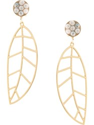 Mercedes Salazar Leaf Drop Earrings Gold