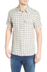 Lucky Brand Men's San Berdu Plaid Linen Shirt Heather Grey Natural