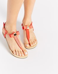 Oasis Coral Bow Toe Post Flat Sandals