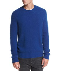 Vince Textured Wool Cashmere Crewneck Sweater Cobalt