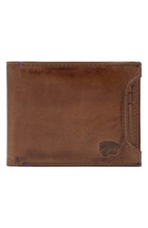 Men's Jack Mason Brand 'Campus Kansas State Wildcats' Leather Wallet With Removable Card Case Brown