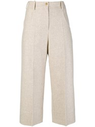 Nehera Cropped Wide Leg Trousers Nude And Neutrals