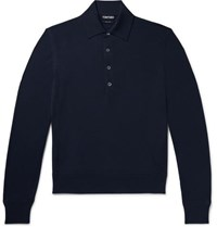 Tom Ford Slim Fit Wool Polo Shirt Navy