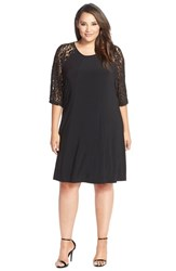 Plus Size Women's Gabby Skye Lace And Jersey Trapeze Dress
