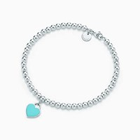 Tiffany And Co. Return To Tiffanytm Mini Heart Tag In Sterling Silver On A Bead Bracelet. Onyx