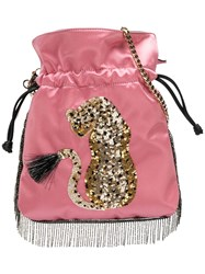 Les Petits Joueurs Sequinned Leopard Drawstring Bag Pink And Purple