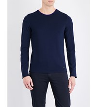 Armani Collezioni Contrast Collar Knitted Jumper Navy
