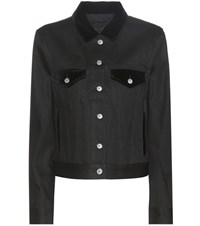 Acne Studios Top Denim Jacket With Velvet Black