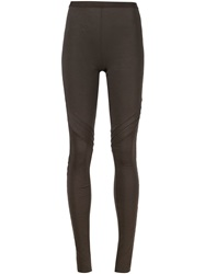 Rick Owens Lilies Ribbed Detail Leggings Grey