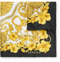 Versace Printed Silk Twill Pocket Square Multi