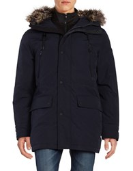 Michael Kors Faux Fur Trimmed Hooded Parka Midnight Blue