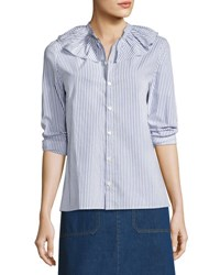 A.P.C. Sixtine Striped Ruffle Collar Blouse Blue
