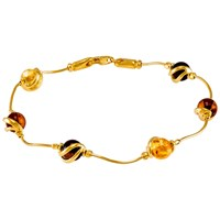 Be Jewelled Cabochon Amber Snake Chain Bracelet Multi
