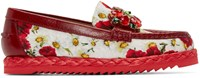 Dolce And Gabbana Red And White Embellished Poppies Loafers
