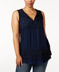 Lucky Brand Trendy Plus Size Embellished Knit Back Top Indigo Multi