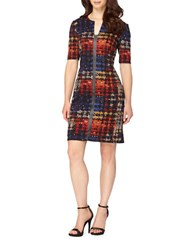 Tahari By Arthur S. Levine Petite Three Quarter Sleeve Plaid Faux Leather Trim Sheath Dress Black Tomato