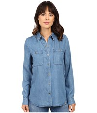 7 For All Mankind Two Pocket Slim Boyfriend Button Front In Castle Lake Blue Castle Lake Blue Women's Clothing