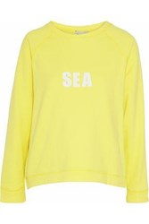Sea Printed French Cotton Terry Sweatshirt Yellow