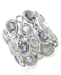 Inc International Concepts Silver Tone Crystal And Pave Filigree Stretch Bracelet Only At Macy's