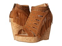 Not Rated Frolic In Fringe Tan Women's Wedge Shoes