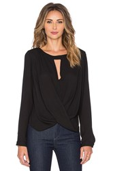 Krisa Long Sleeve Boatneck Surplice Blouse Black