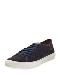 Donald J Pliner Perforated Leather Laced Sneaker Blue