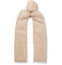 Begg And Co Staffa Fringed Cashmere Silk Blend Scarf Beige