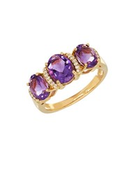 Lord And Taylor Andin Amethyst 0.053 Tcw Diamond 14K Yellow Gold Oval Ring Purple