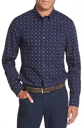 Nordstrom Trim Fit Floral Print Washed Cotton Long Sleeve Sport Shirt Big And Tall Navy Peacoat Floral Box Print