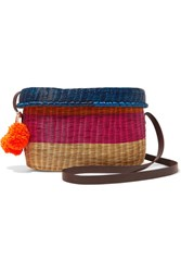 Sophie Anderson Costello Leather Trimmed Woven Raffia Shoulder Bag Pink