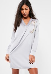 Missguided Grey Embroidered Satin Wrap Dress