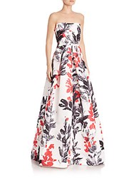 David Meister Printed Strapless Dress Red Black