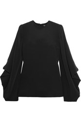 Tom Ford Draped Silk Cady Blouse Black
