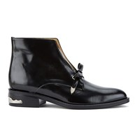 Toga Pulla Women's Bow Top Leather Ankle Boots Black Polido