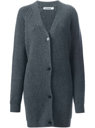 Jil Sander Oversized V Neck Cardigan Grey