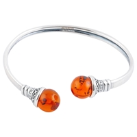 Be Jewelled Flexible Sterling Silver Torque Amber