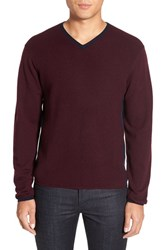 Zachary Prell Men's V Neck Colorblock Merino Wool Pullover Burgundy