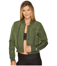 Alo Yoga Off Duty Bomber Jacket Hunter Coat Green