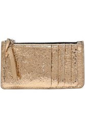 Iro Abie Metallic Cracked Leather Coin Purse Gold
