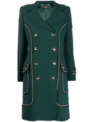 Elisabetta Franchi Contrast Trimmed Double Breasted Coat Green
