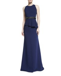 Carmen Marc Valvo Sleeveless Crepe Peplum Gown Midnight